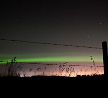 Fenced Aurora by Roxanne Persson