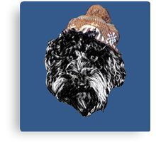 Cockapoo in a Winter Hat (Blue) Canvas Print