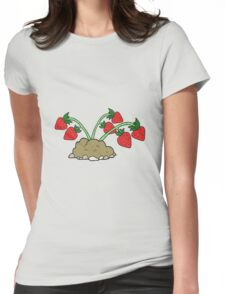 cartoon strawberries Womens Fitted T-Shirt