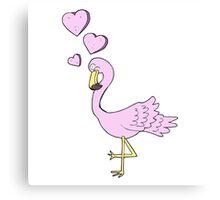 cartoon flamingo in love Canvas Print