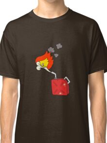 cartoon fuel can with burning fuel spray Classic T-Shirt