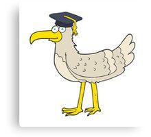 cartoon seagull with graduate cap Canvas Print