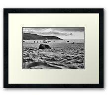 Dog in the sand Framed Print