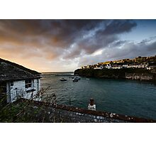 Sunset over Port Isaac harbour, Cornwall Photographic Print