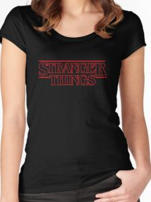 Stranger Things Classic Title :  RED OUTLINE VARIANT Women's Fitted Scoop T-Shirt