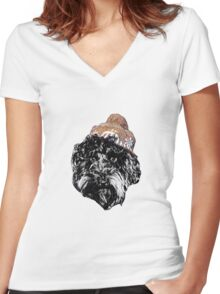 Cockapoo with a Winter Hat (Orange) Women's Fitted V-Neck T-Shirt