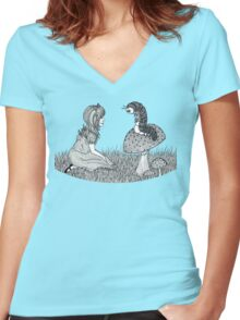 Alice and Caterpillar  Women's Fitted V-Neck T-Shirt