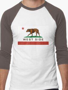California Pit Bull West Side Flag  Men's Baseball ¾ T-Shirt