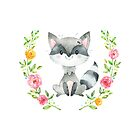 Bandit the Racoon is one of the Forest Friends nursery art set by Sandra O'Connor