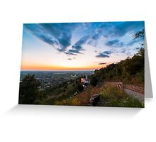Sunset from a hill with a church down to the vineyards Greeting Card