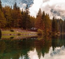 Autumn morning at the alpine lake Sticker
