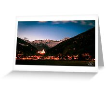 Campo Tures castle with white mountains behind Greeting Card