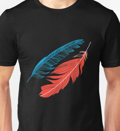 Graphic pattern multicolored feathers Unisex T-Shirt