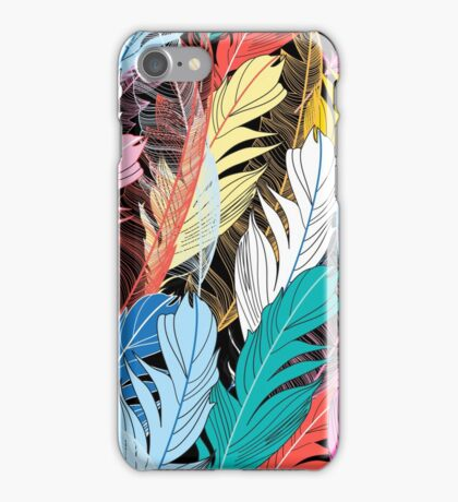 Graphic pattern multicolored feathers iPhone Case/Skin
