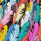 Graphic pattern multicolored feathers by Tanor