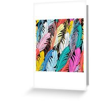 Graphic pattern multicolored feathers Greeting Card