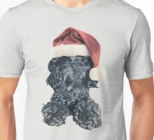 Cockapoo in a Christmas Santa Hat (Grey) Unisex T-Shirt