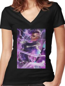 OVERWATCH SOMBRA Women's Fitted V-Neck T-Shirt