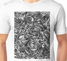 Gray Swirls Abstract Shaded Depth Zen Doodle Unisex T-Shirt