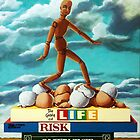 Walking On Eggshells - imaginative realism still life painting by LindaAppleArt