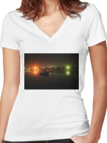 Night Lights on the Water (closer) Women's Fitted V-Neck T-Shirt