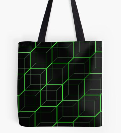 Green Cubes - Black Tote Bag