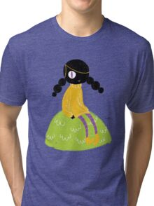100 Days. Lady sitting on a hillock. Tri-blend T-Shirt