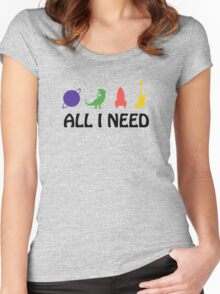 All I Need (Planet, Dinosaur, Rocket, Guitar) Women's Fitted Scoop T-Shirt