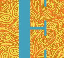 Paisley Print Letter 'E' by haypaige