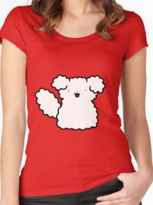 Fluffy Dog Sitting Women's Fitted Scoop T-Shirt