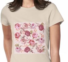 Blush Pink and Red Watercolor Floral Roses Womens Fitted T-Shirt
