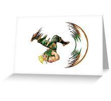 Guile Flash Kick Greeting Card