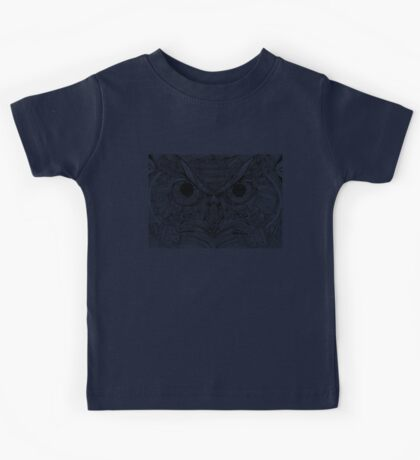 Zentangle Owl - Black on White Kids Tee