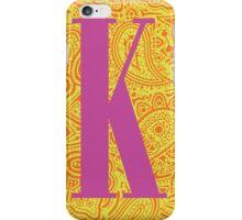 Paisley Print Letter K' iPhone Case/Skin