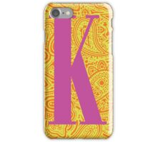 Paisley Print Letter K' iPhone Case/Skin