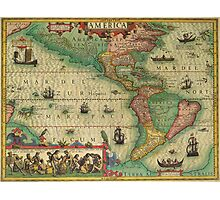 Americas Region Map 1606 Photographic Print