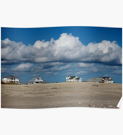 Clouds Over Beach Houses Poster