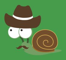 Cute and funny mustached Cowboy Snail Kids Tee