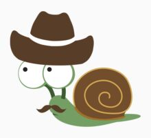 Cute and funny mustached Cowboy Snail Kids Clothes