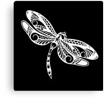 Dragonfly White on Black Tribal Art Canvas Print