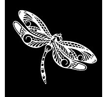 Dragonfly White on Black Tribal Art Photographic Print