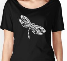 Dragonfly White on Black Tribal Art Women's Relaxed Fit T-Shirt