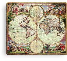 World Map 1665 Canvas Print