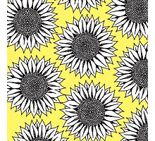 Yellow Sunflower in Black and White Hand Drawing Photographic Print