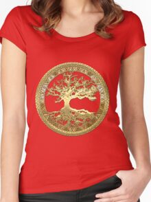 Celtic Tree of Life, Yggdrasil  [Gold] Women's Fitted Scoop T-Shirt