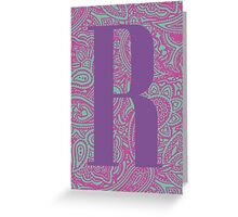 Paisley Print Letter 'R' Greeting Card