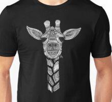 Zentangle Giraffe - White on Black Unisex T-Shirt