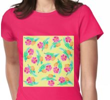 Tropical Jungle Pineapple Palm Leaf and Flower Womens Fitted T-Shirt