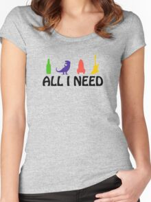 All I Need (beer, dinosaur, rocket, guitar) Women's Fitted Scoop T-Shirt