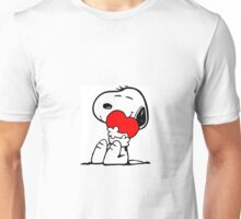 Snoopy holding a heart Unisex T-Shirt